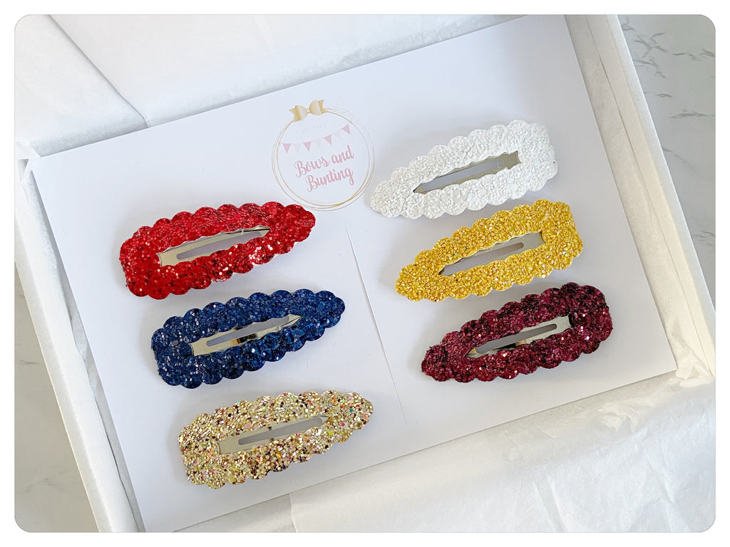 Large 7.5cm Snap Clip Gift Set - Glitter & Sparkle