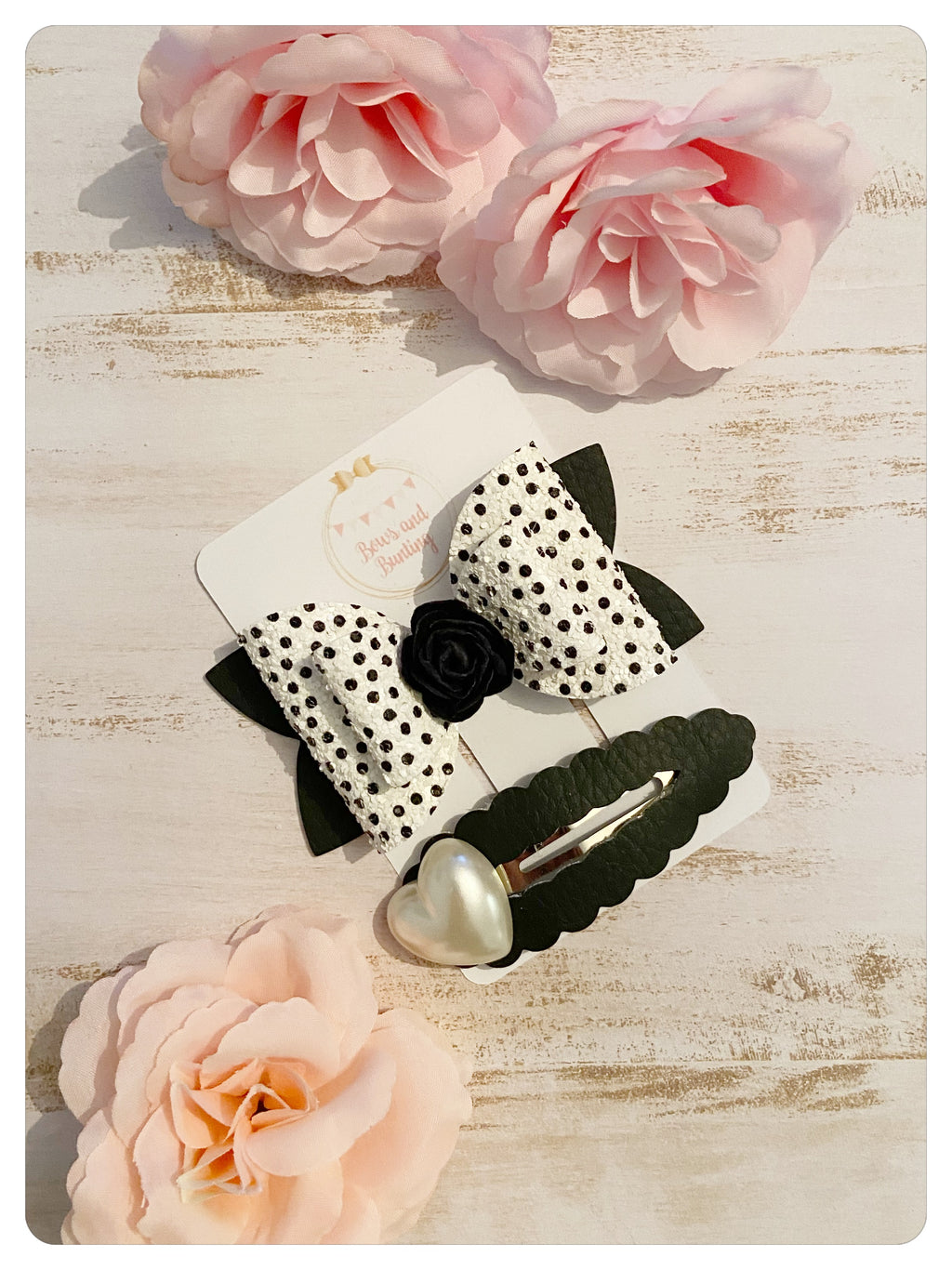Black and White Glitter Spot Bow & Black Faux Leather & Pearl Heart Snap Clip Set