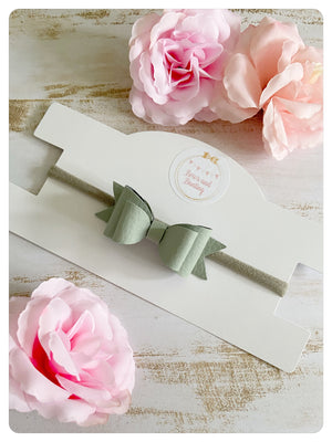 Mini Sage Faux Leather Bow Band