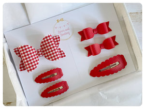 Red School Bow and Snap Clip Set