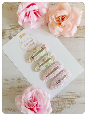 Rose Lace - 4 x 5.5cm Snap Clips Set