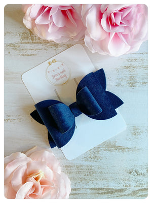 "Large 3.5"" Royal Blue Velvet Bow"