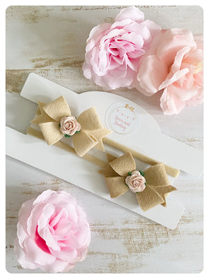Set of Two Felt Flower Bow Bands -  Nude & Tan