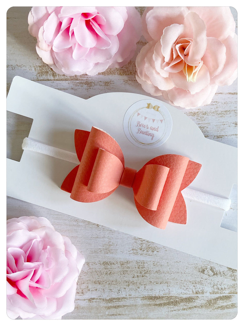 "Large 3.5"" Coral Faux Leather Bow Band"