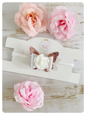White and Rose Gold Glitter Butterfly Bow Band