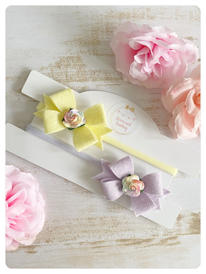 Set of Two Felt Flower Bow Bands - Yellow & Lilac