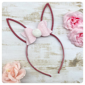 Pink Bunny Headband with Pink Bow