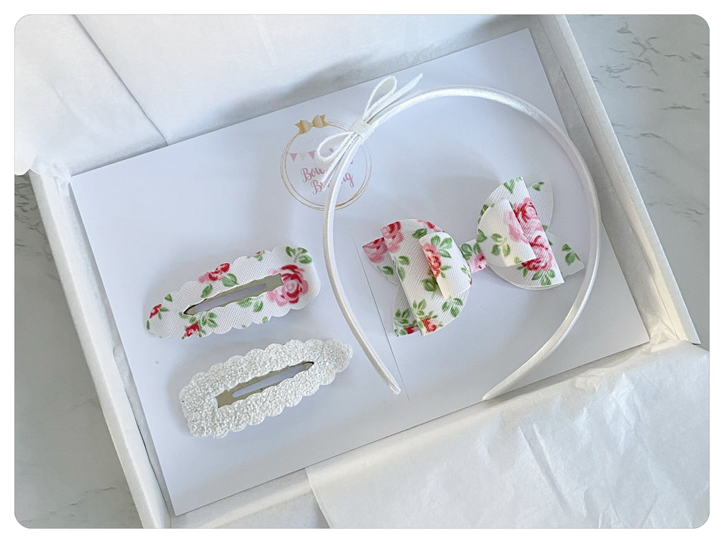 "Large 3.5"" Bow, Two 7.5cm Snap Clips & Headband Gift Set - SS21"