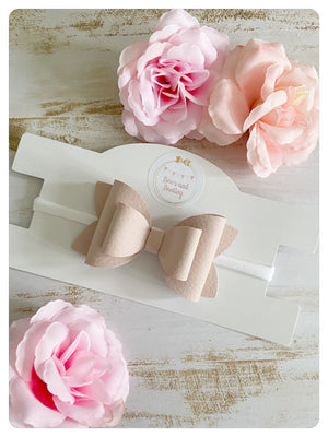 "Large 3.5"" Blush Pink Faux Leather Bow Band"