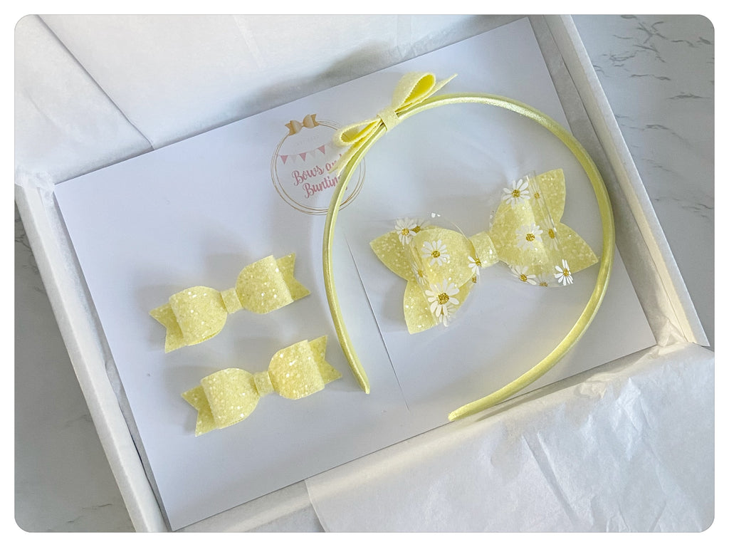 "Large 3.5"" Bow, Pigtail Bows & Headband Gift Set - SS21"