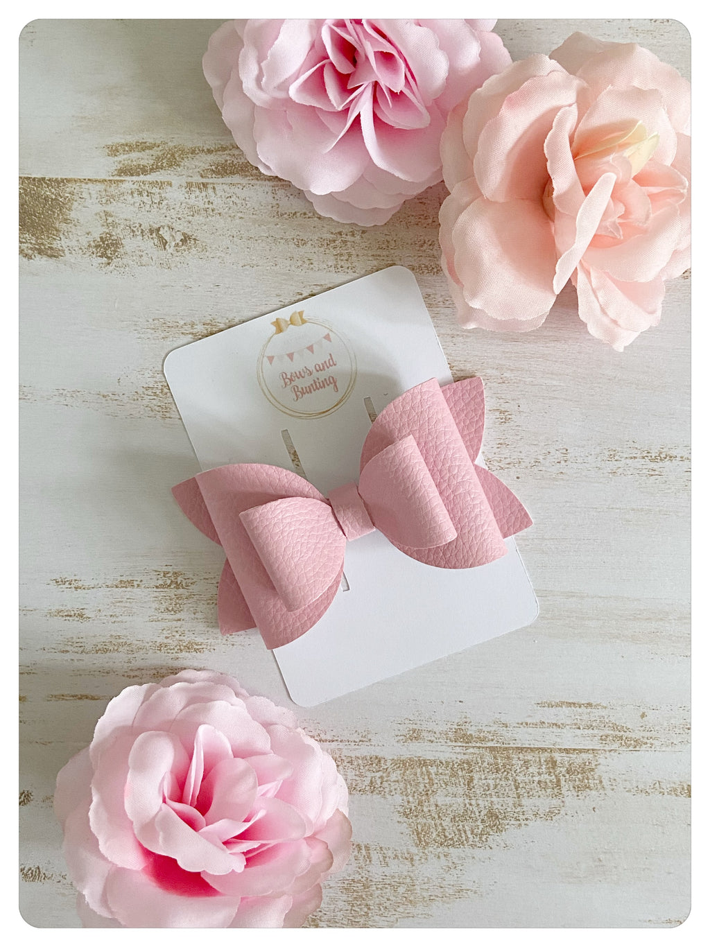 "Large 3.5"" Pink Faux Leather Bow"