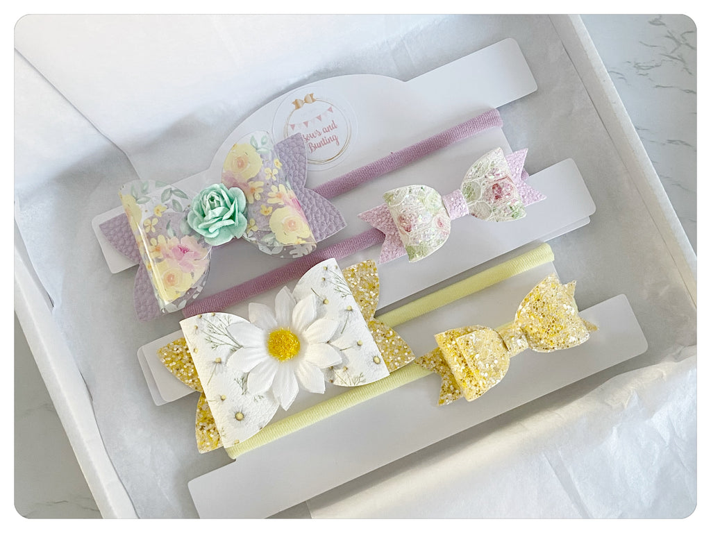 "Two Large 3.5"" Bow Bands & Two Mini Bow Bands Gift Set - SS21"