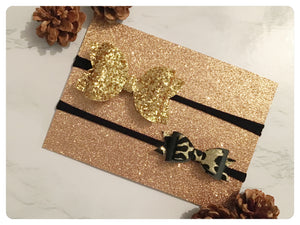 "Set of two Large 3.5"" Bright Gold Glitter and Mini Black and Leopard Print Bow Bands"