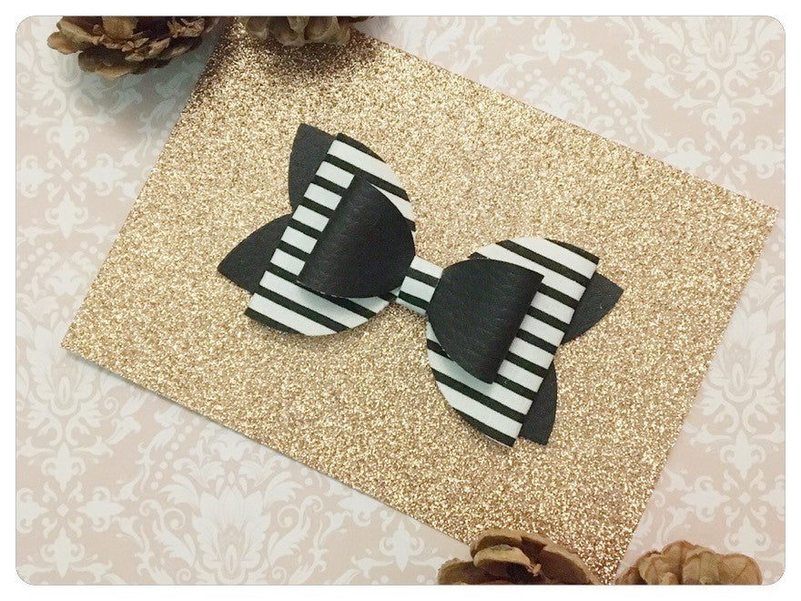 "Large 3.5"" Black & White Faux Leather and Stripe Fabric Bow"