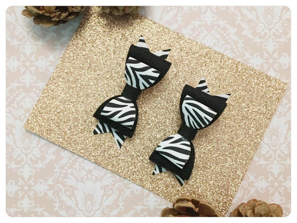 Set of 2 Mini Black & White Faux Leather & Wool Felt Zebra Print Pigtail Bows