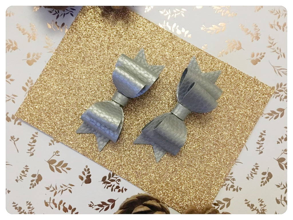 Set of 2 Mini Sliver Metallic Pigtail Bows
