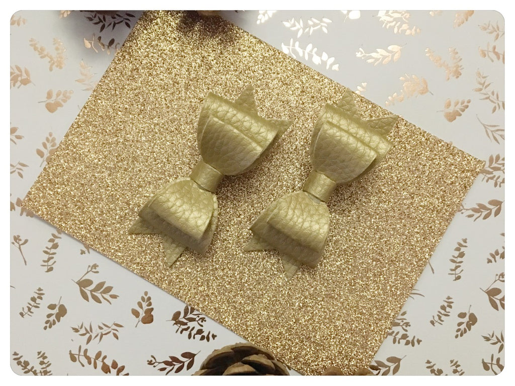 Set of 2 Mini Gold Metallic Pigtail Bows