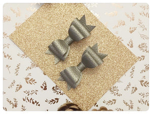 Set of 2 Mini Pewter Metallic Pigtail Bows