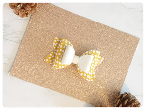 "Large 3.5"" Mustard/White Spot Print & White Faux Leather Bow"