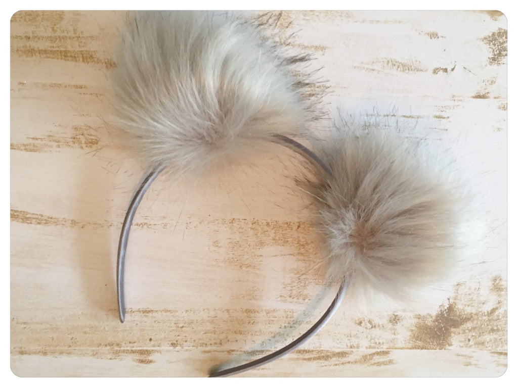 Pom Pom Headband - Light Grey