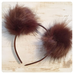 Pom Pom Headband - Chocolate