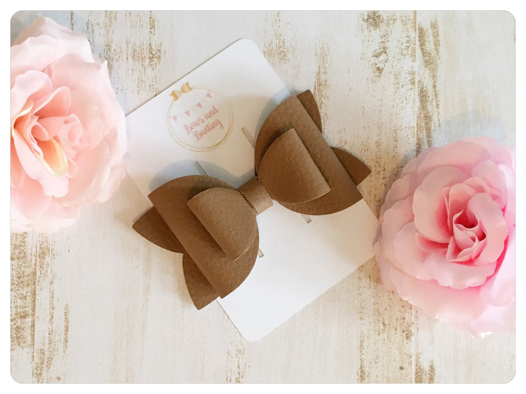 "Large 3.5"" Tan Faux Leather Bow"