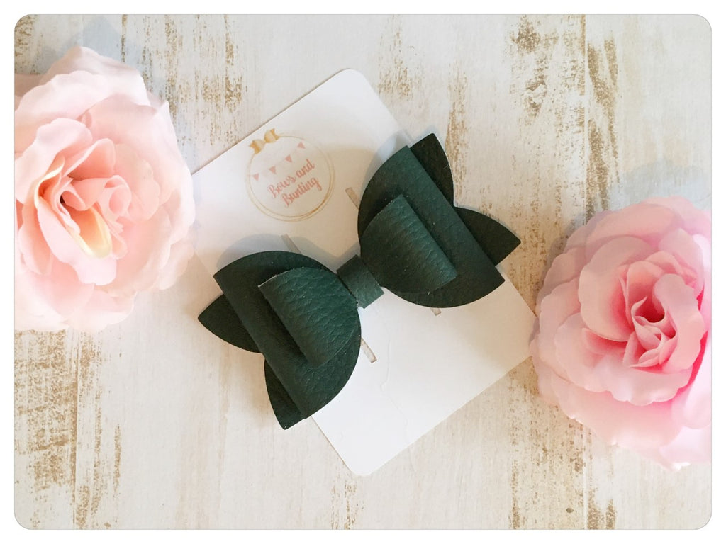 "Large 3.5"" Dark Green Faux Leather Bow"