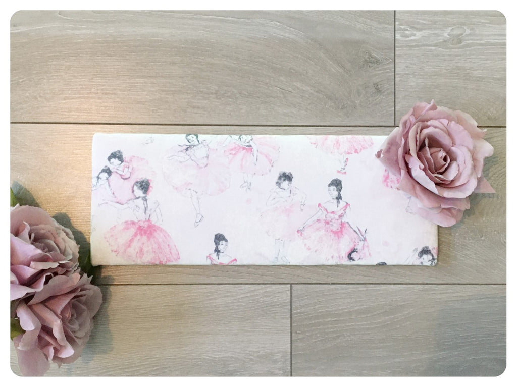 Bow Band Holder - Ballet fabric, with large mauve flower