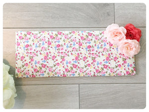 Bow Band Holder - Pink floral fabric with pink and red flowers