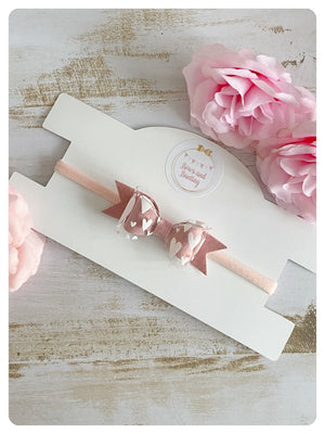 Mini Pink Velvet and Clear Pink Heart Fabric Bow Band
