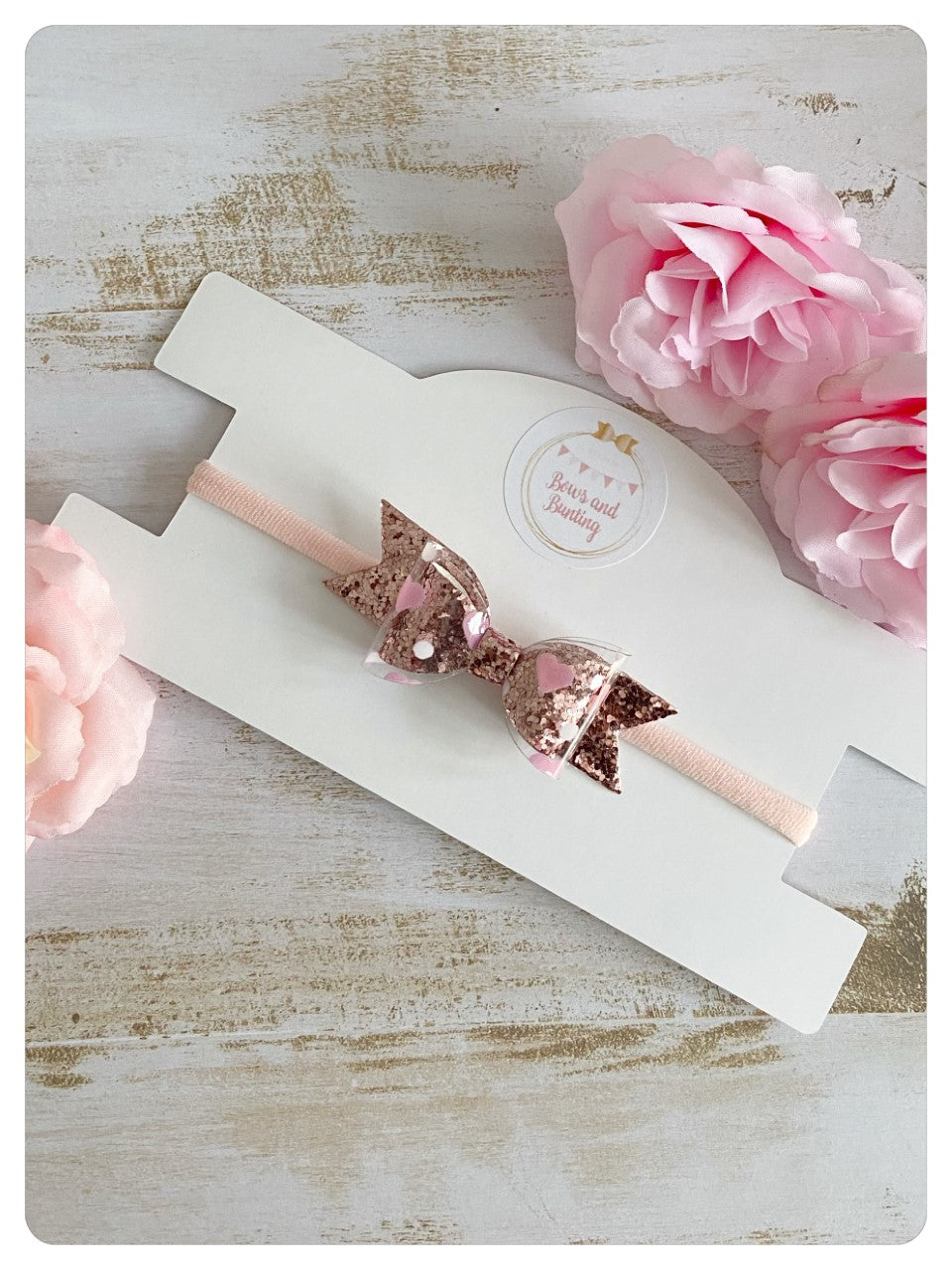 Mini Rose Gold Glitter and Clear Pink Heart Fabric Bow Band