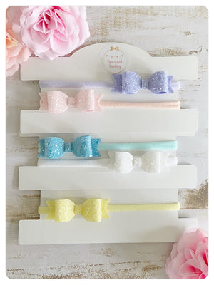 Mini Pastel Glitter Bow Bands