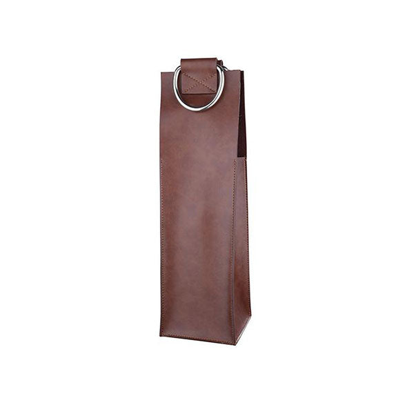Brown Faux Leather Single-Bottle Wine Tote by