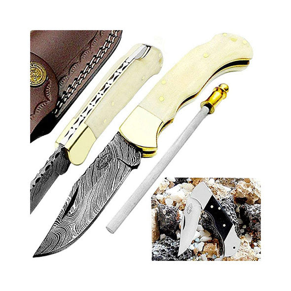 Camel Bone 6.5'' Hunting Pocket Knife