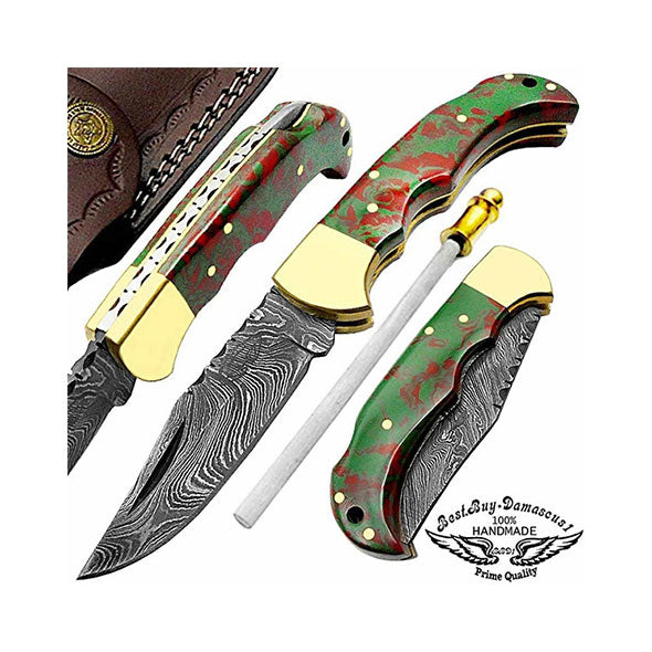 Green & Red Resin Handel 6.5""