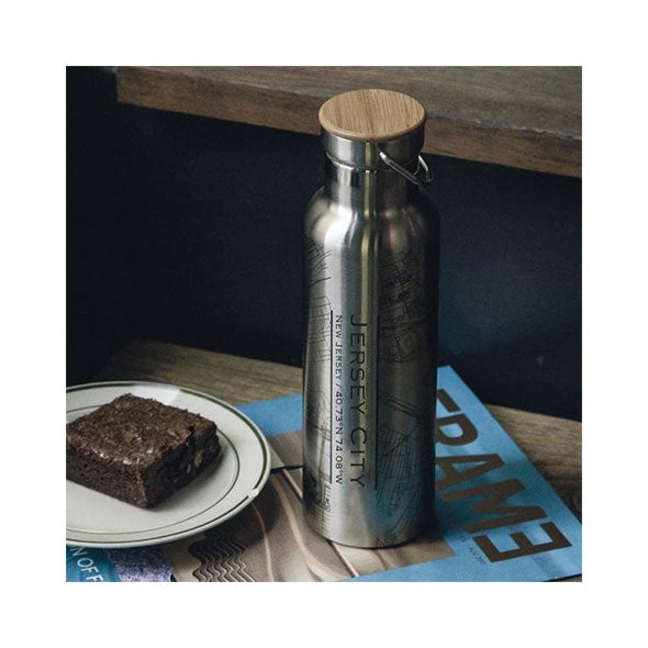 Jersey City - New Jersey Map Bottle with Bamboo Top 100% Best Quality