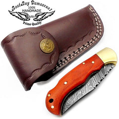 Orange Wood 6.5'' Hunting Pocket Knife