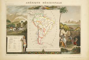 Rare antique map of South America - 1656 AD