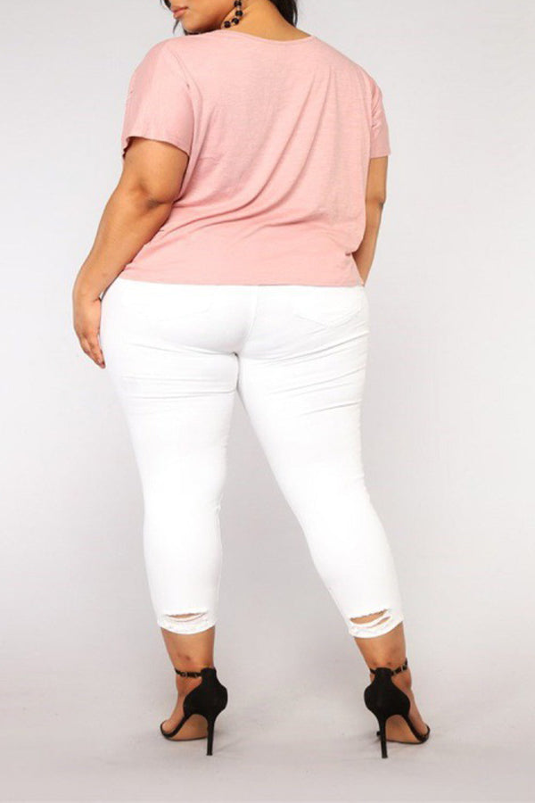 White Skinny Destruction Effect Cropped Jeans