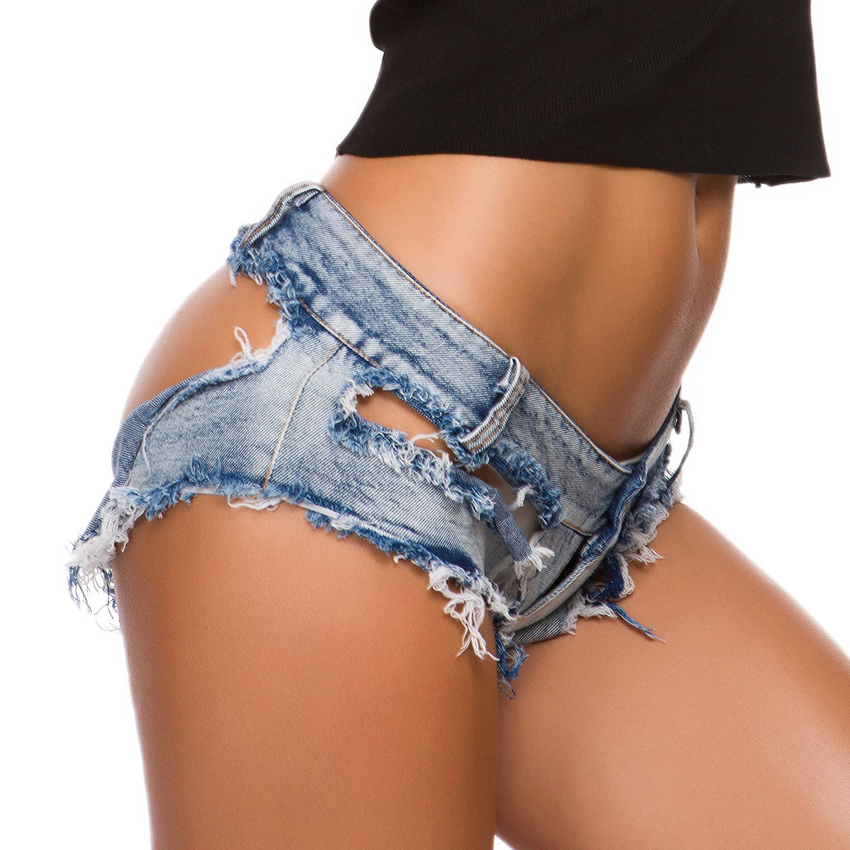 New autumn sexy women's jeans denim shorts hot pants low waist sexy ripped nightclub women's clothing