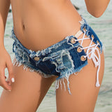 New summer women's European and American jeans denim shorts hot pants low waist sexy nightclub clothing