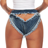 New sexy high-waisted high waist ladies denim shorts hot pants peach hip jeans