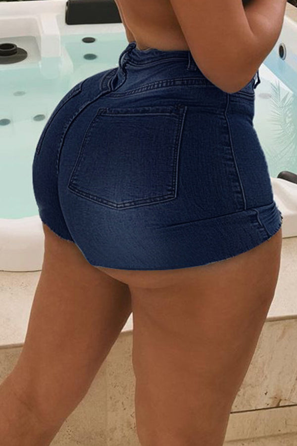 Plus size high waist slim solid color denim shorts