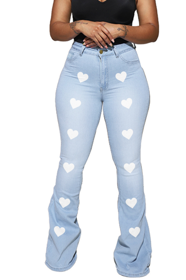 Large size women's high-waisted slim fit denim flared pants