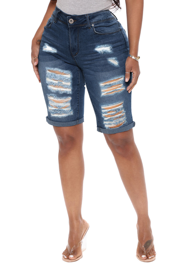 Large size women's broken denim hot pants