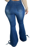 Large size women's high-waisted slim-fitting denim pants