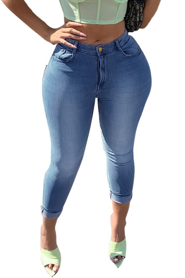 Large size women's slim and thin stretch small foot denim pants
