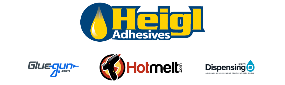 Heigl Adhesives logo, Gluegun.com logo, Hotmelt.com logo, Dispensing.com logo
