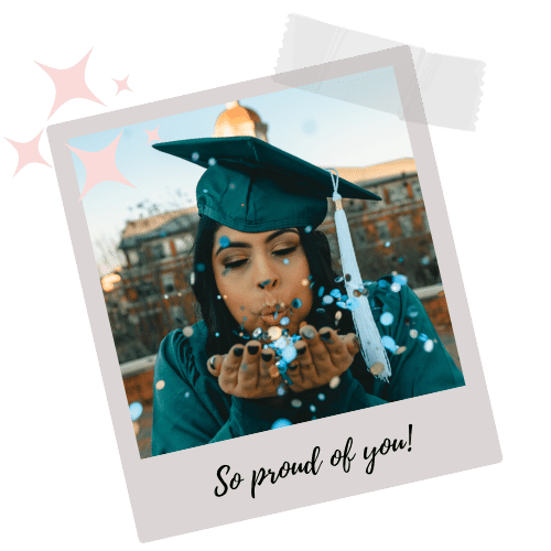 American girl blowing glitter on her graduation day