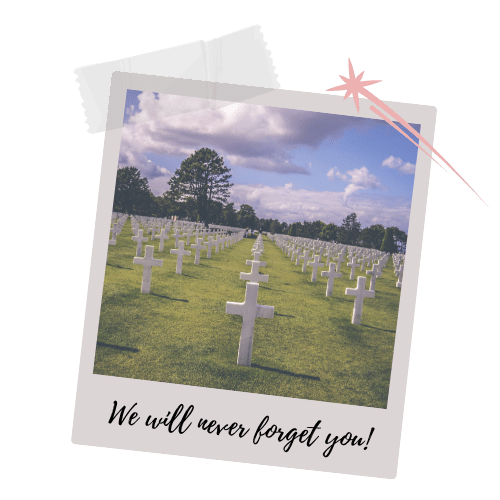 American Graveyard with white Cross Tombstones